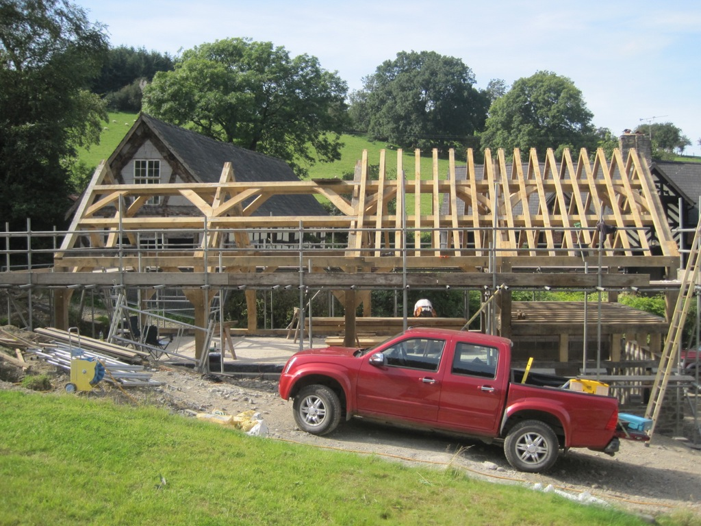 Four bay garage timber frame oak framed Castle Ring Oak Frame