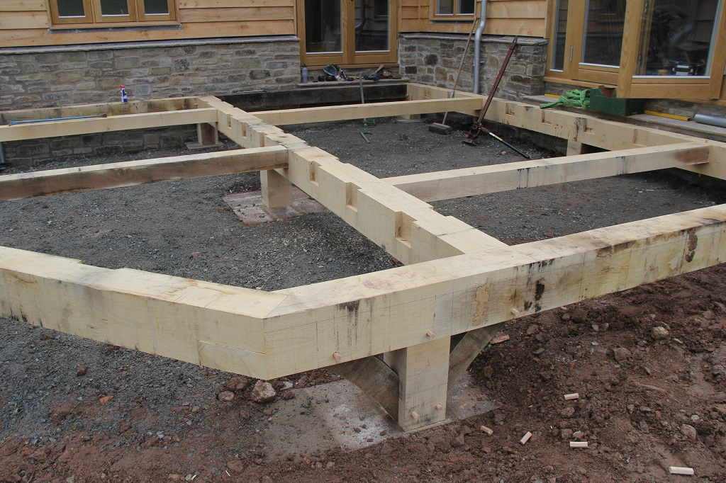 All hands on deck castle ring oak frame for Decking framework timber