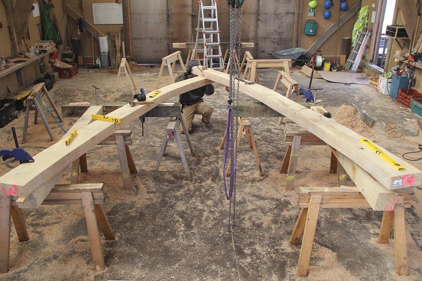 Cruck frame in workshop Oak Frame