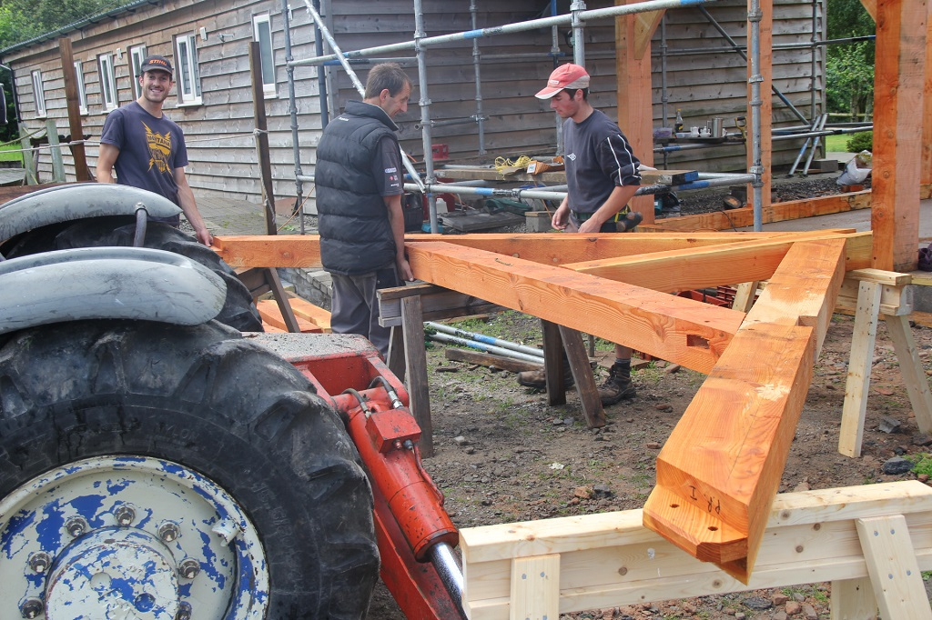 Assembling the trusses.