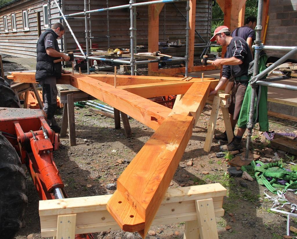Timber frame pegging trusses