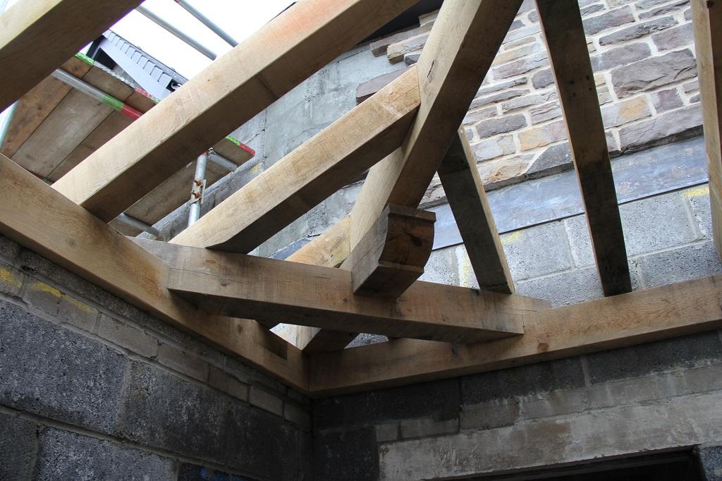 Swansea oak framed hipped roof by Castle Ring Oak Frame