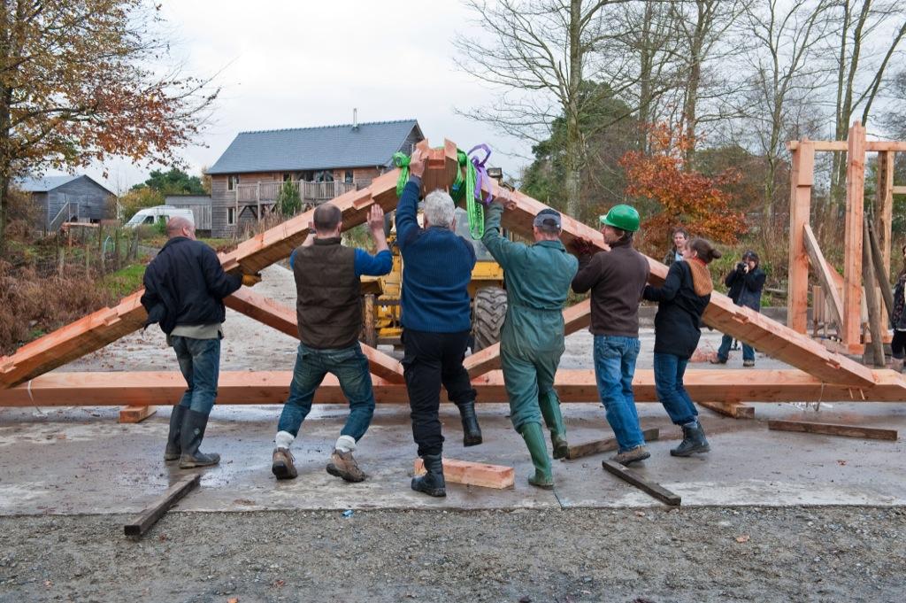 Castle Ring Oak Frame workshop timber frame raising