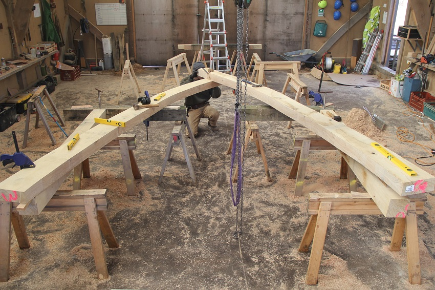 Cruck frame in workshop Oak Frame