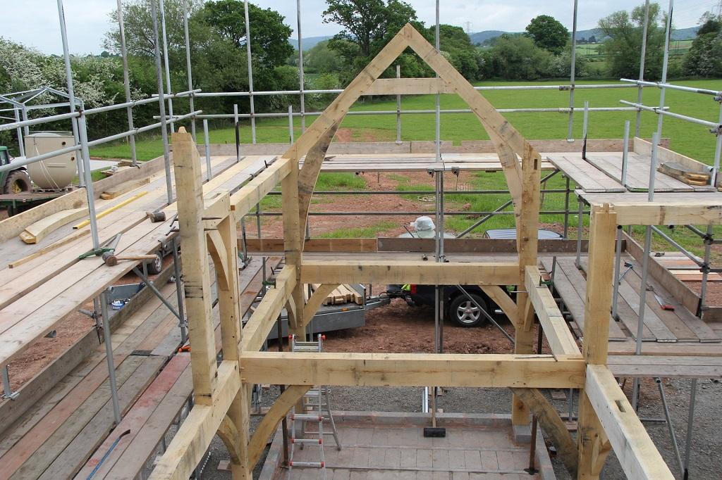 Oak frame being raised
