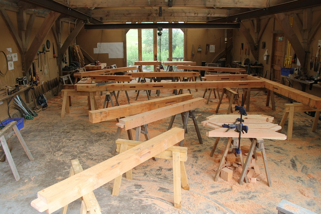 Chaos in the workshop as all the component timbers are separated to be tenoned, morticed, drilled...