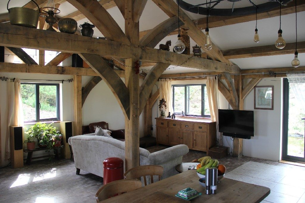Open plan living oak frame house