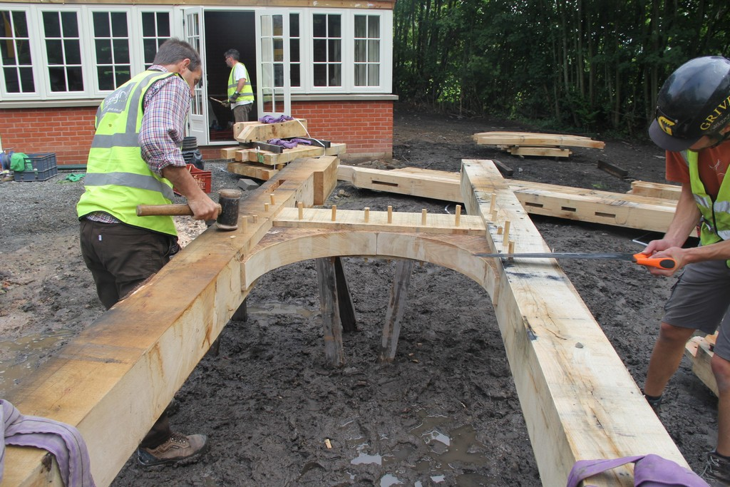 Oak frame raising