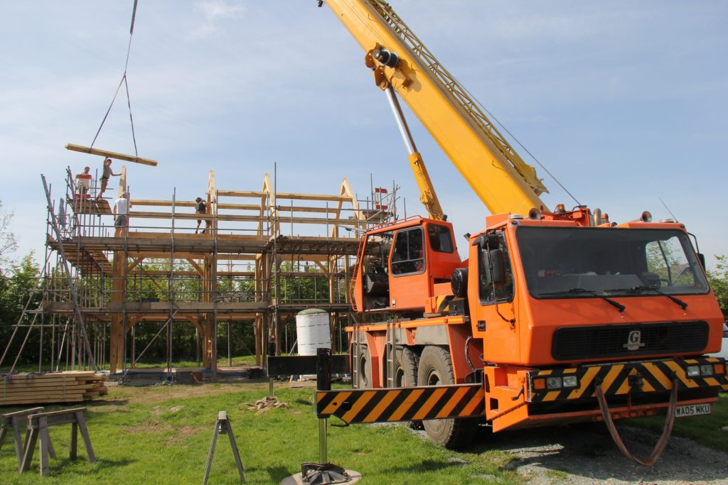 Oak frame house raising