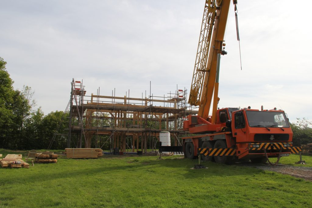 Oak frame house raising day