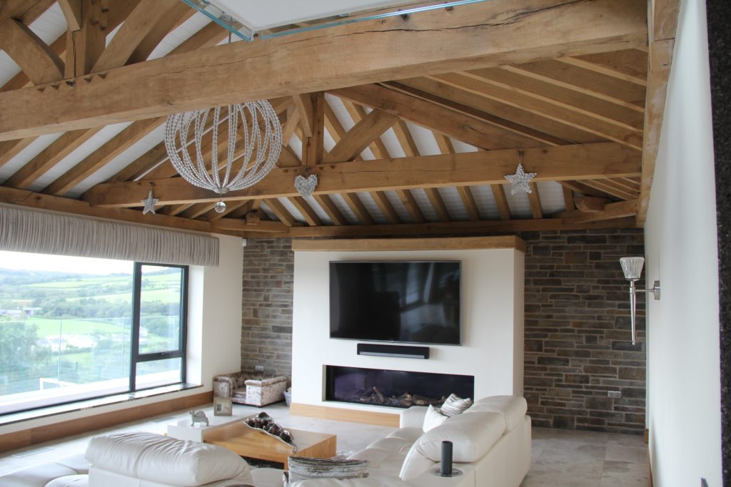 Oak framed house interior design